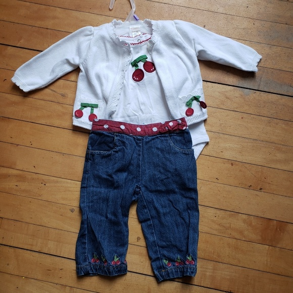 NWT Gymboree Girls Cherry Cute Pink With Cherries Pant Size 3-6M 12-18M 18-24M